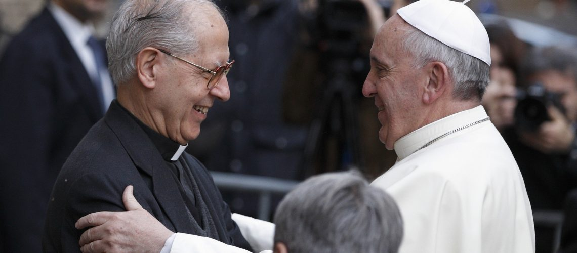 Pope Francis greets Father Adolfo Nicolas, superior general of the Society of Jesus, as he arrives to celebrate Mass at the Church of the Gesu in Rome Jan. 3. The pope celebrated Mass with 300 of his Jesuit confreres in thanksgiving for the recent canonization of Jesuit St. Peter Faber. (CNS photo/Paul Haring) (Jan. 3, 2014) See POPE-JESUITS Jan. 3, 2014.